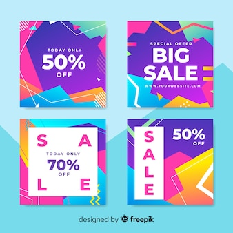 Abstract sale banners collection