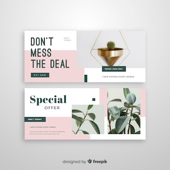 Abstract sale banners template with photo