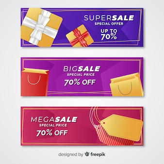Abstract sale banners with realistic elements