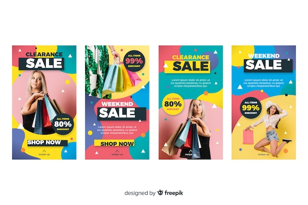 Abstract sale colorful instagram stories with image