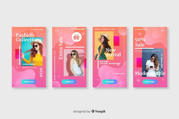 Abstract sale colorful instagram stories with photo