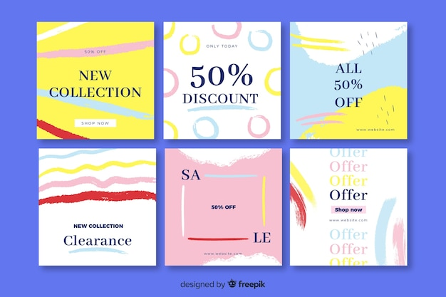 Abstract sale instagram post collection