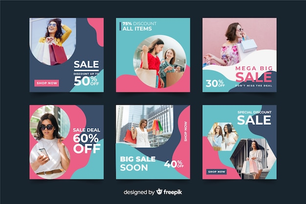 Abstract sale instagram post pack with photo