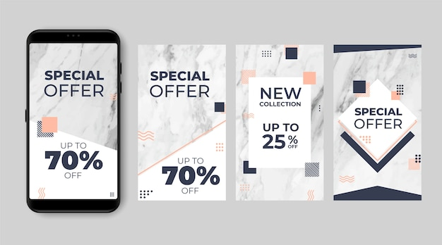 Abstract sale instagram stories set in marble style