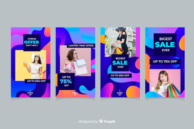 Abstract sale instagram stories with photo