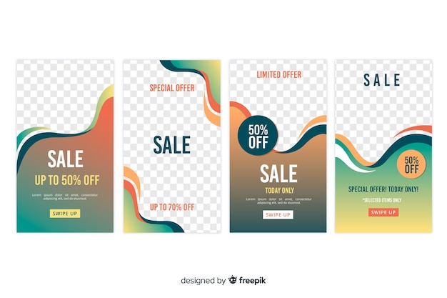 Abstract sale instagram story collection