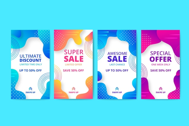 Abstract sale instagram story pack