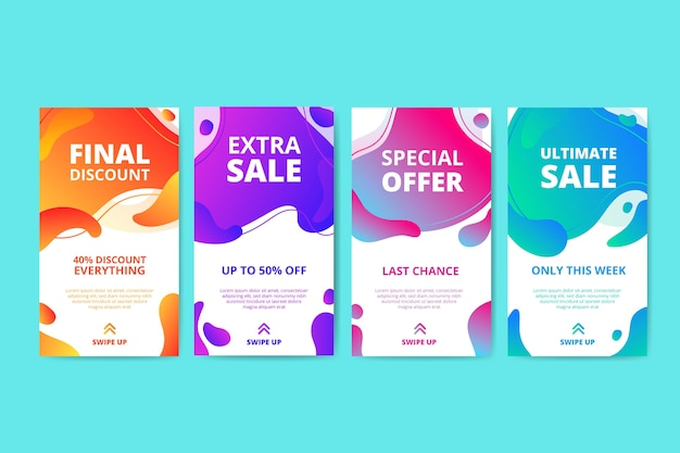 Abstract sale instagram story set