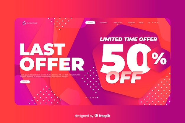 Abstract sale landing page template