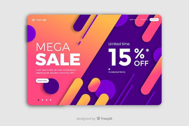 Abstract sale landing page with 15% off