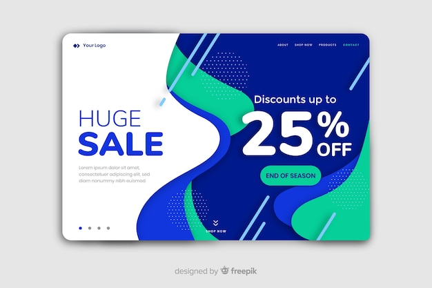 Abstract sale landing page with 25% off