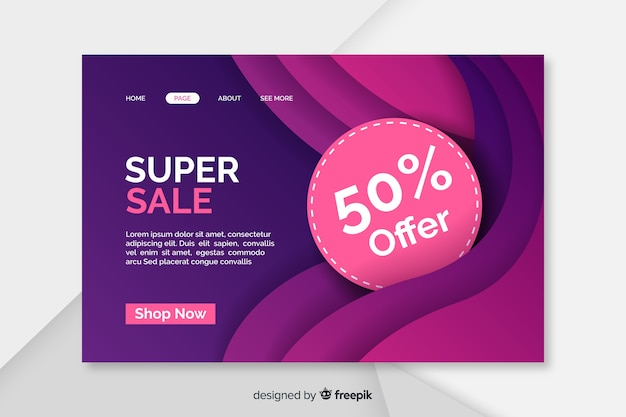 Abstract sale landing page with 50% offer