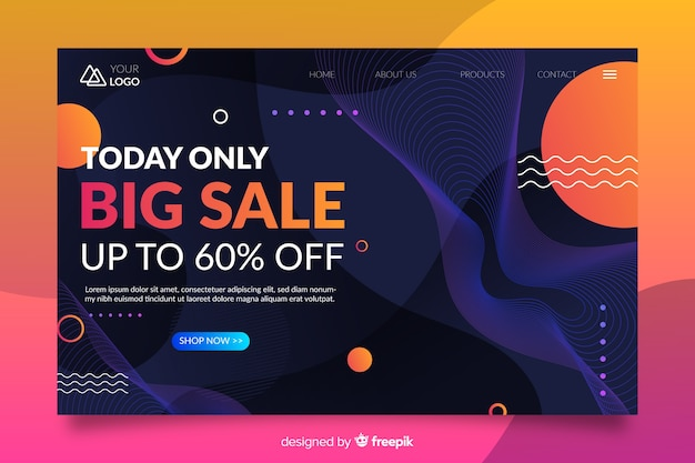 Abstract sale landing page with 60% offer