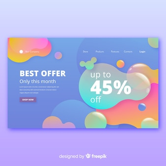 Abstract sale landing page with balloons