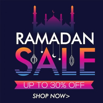 Abstract sale lettering with hanging lamps, creative poster, banner or flyer design for islamic holy month, ramadan kareem celebration.