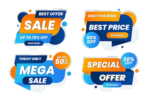 Abstract sale sticker collection Free Vector