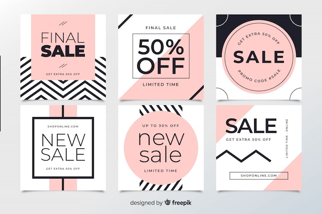 Abstract sale web banners for social media