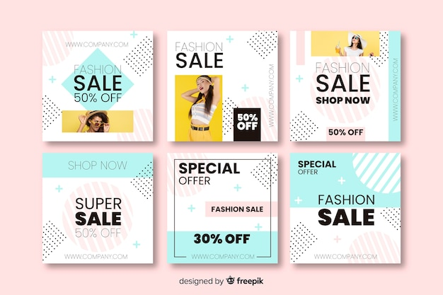 Abstract sales banners for social media
