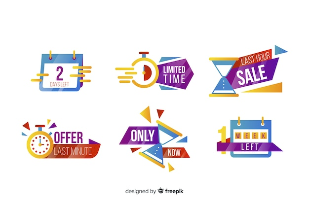 Abstract sales countdown banner collection