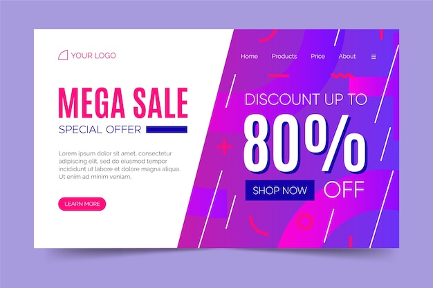 Abstract sales landing page memphis style