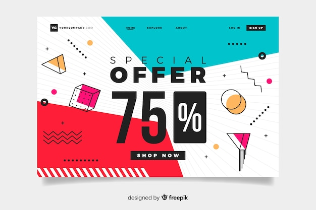 Abstract sales landing page with 75% offer