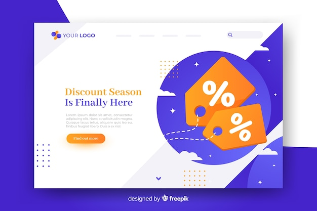 Abstract sales landing page with discount