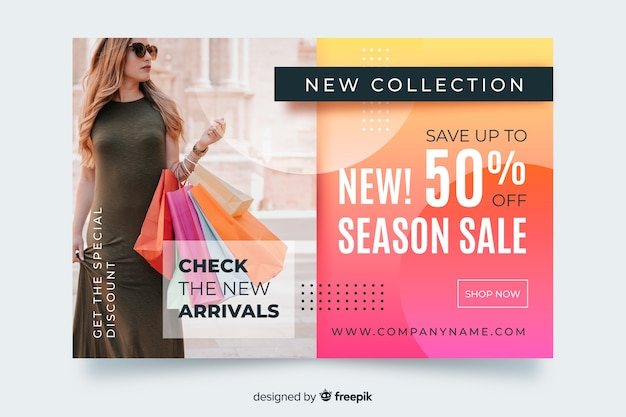 Abstract sales landing page with female and bags