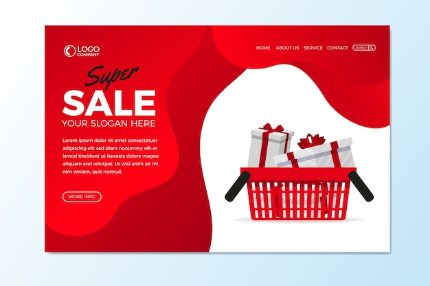 Abstract sales landing page with gifts