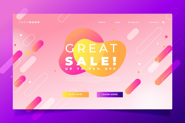 Abstract sales landing page with gradient