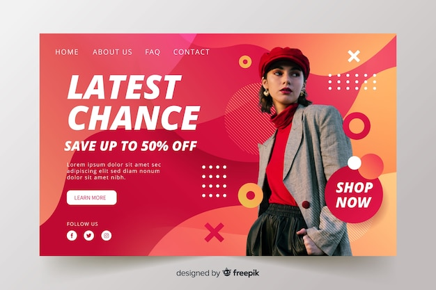 Abstract sales landing page with image