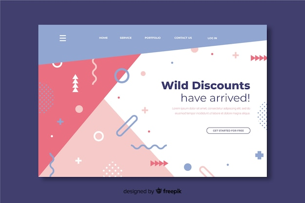 Abstract sales landing page with memphis
