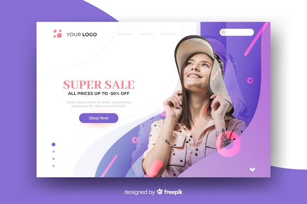 Abstract sales landing page with photo of a girl