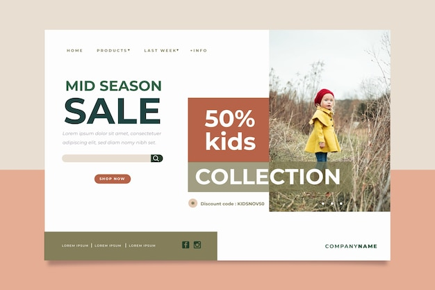 Abstract sales landing page with photo
