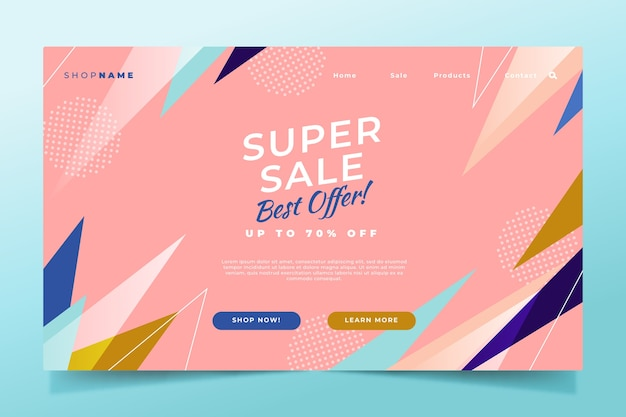 Abstract sales landing page