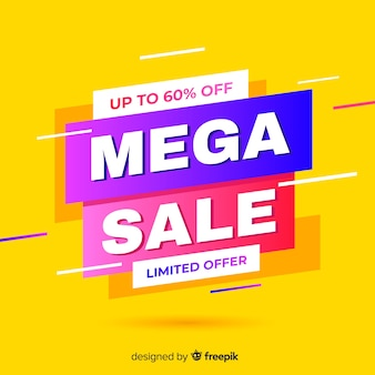 Abstract sales promotion on yellow background