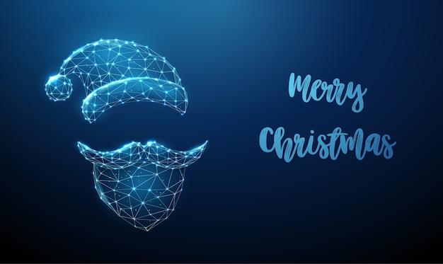 추상 산타 클로스는 수염, 콧수염 및 모자를 착용합니다. 낮은 폴리 스타일 디자인. 메리 크리스마스 카드. 현대 3d 그래픽 기하학적 배경입니다. 와이어 프레임 라이트 연결 구조.
