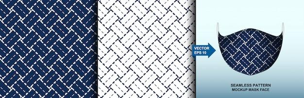Abstract . sashiko seamless pattern. line indigo and white background. template mask face seamless pattern.