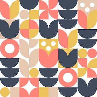 北欧の花の抽象的な背景またはシームレスなパターン。レトロな北欧スタイルのモダンな幾何学的デザイン。