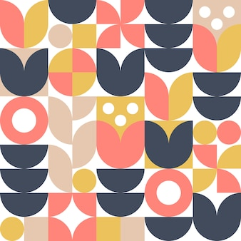 Abstract scandinavian flower background or seamless pattern. modern geometric design in retro nordic style.
