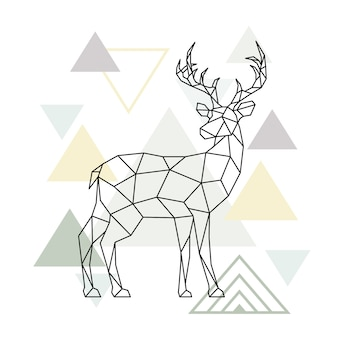 Abstract scandinavian geometric deer.