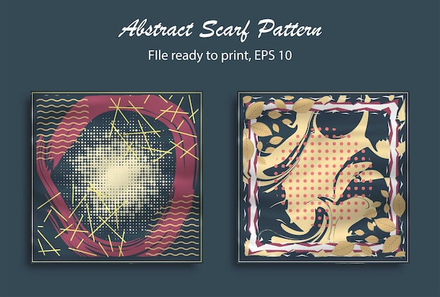 ヒジャーブ、ブランク、枕などの抽象的なスカーフパターンデザイン