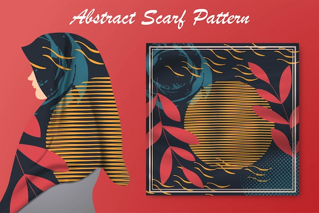 Abstract scarf pattern design for hijab and blanket. hijab scarf.