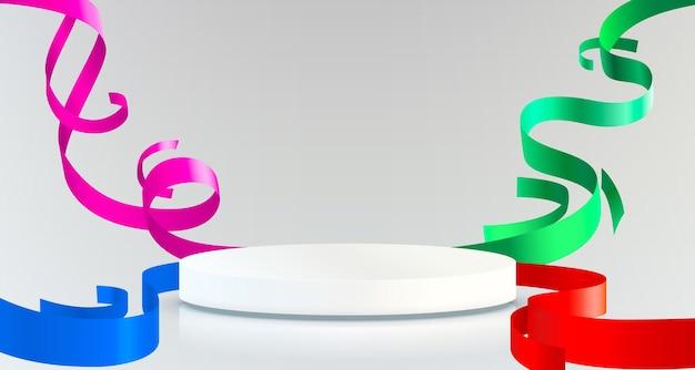紙吹雪とリボンの製品プレゼンテーションと抽象的なシーンの背景シリンダー表彰台の背景...