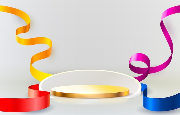 Abstract scene background cylinder podium background with confetti and ribbons product presentation ...