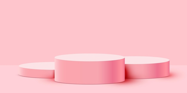 Abstract scene background cylinder podium on pink background product presentation mock up show cosme...