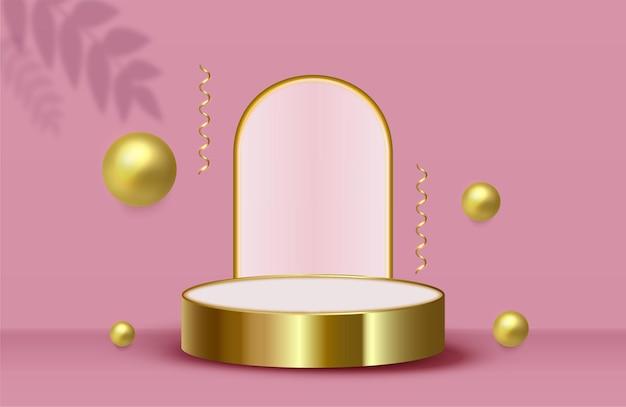 Абстрактный фон сцены с золотым цилиндрическим подиумом конфетти и золотыми шарами