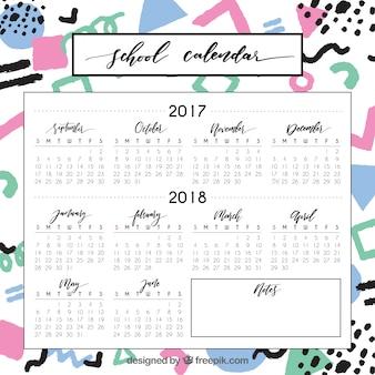 Calendario scolastico astratto con disegni divertenti