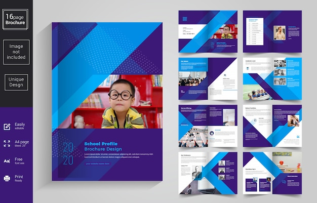 Abstract school kids brochure template
