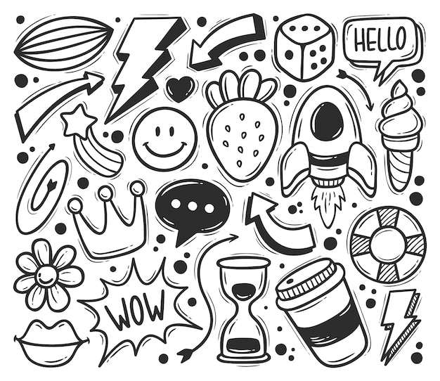 Abstract scribble icons hand drawn doodle coloring