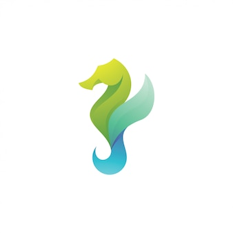 Abstract seahorse hippocampus logo